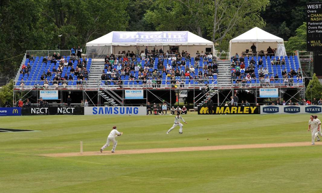 Cricket seating grandstand with public access stairs