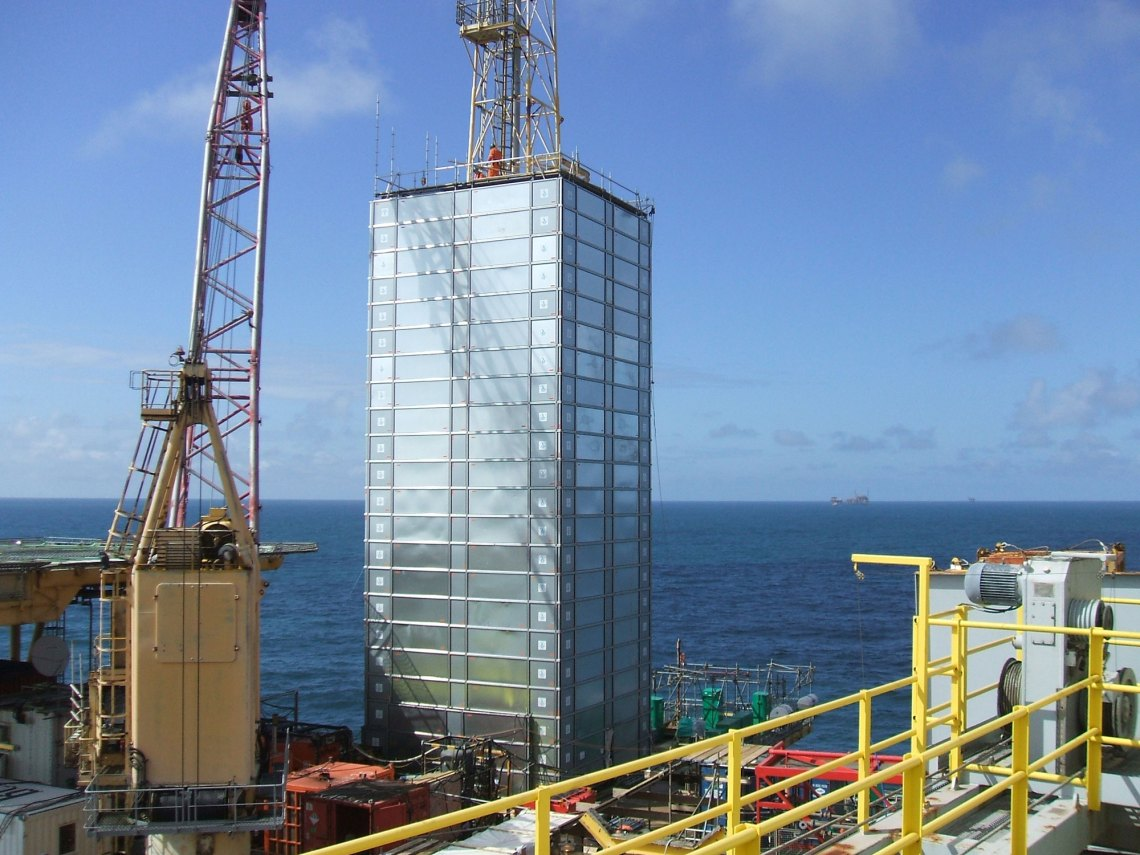 Environmental protection constructed on an oil rig at sea