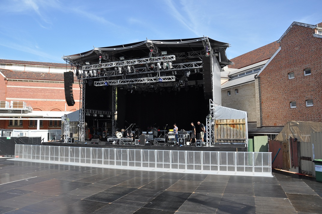 Stage and audience area created using Layher Event Deck