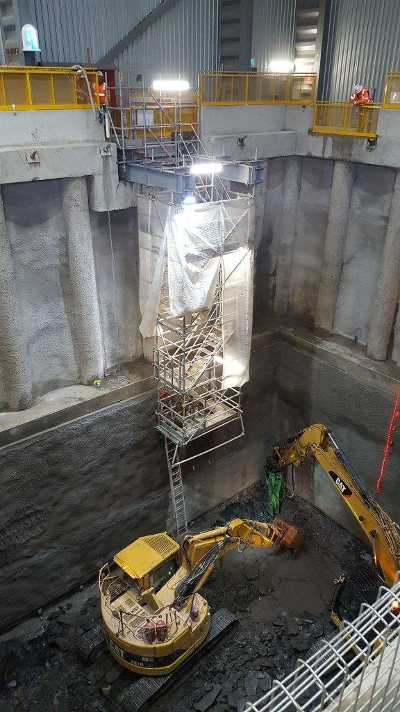 Excavators start digging the 94m shaft