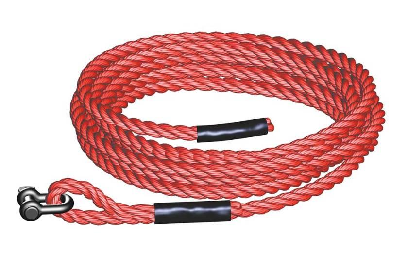 18mm diameter plastic gin wheel hoist rope, colour red, otherwise as rope for braked hoist wheel