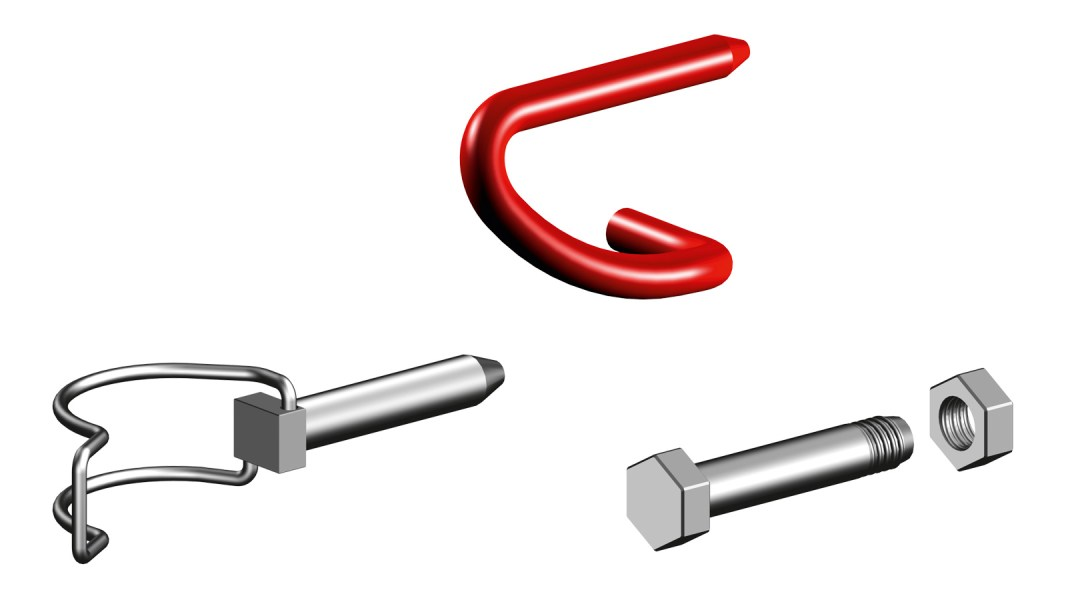 Locking pins, nuts and bolts for scaffolding