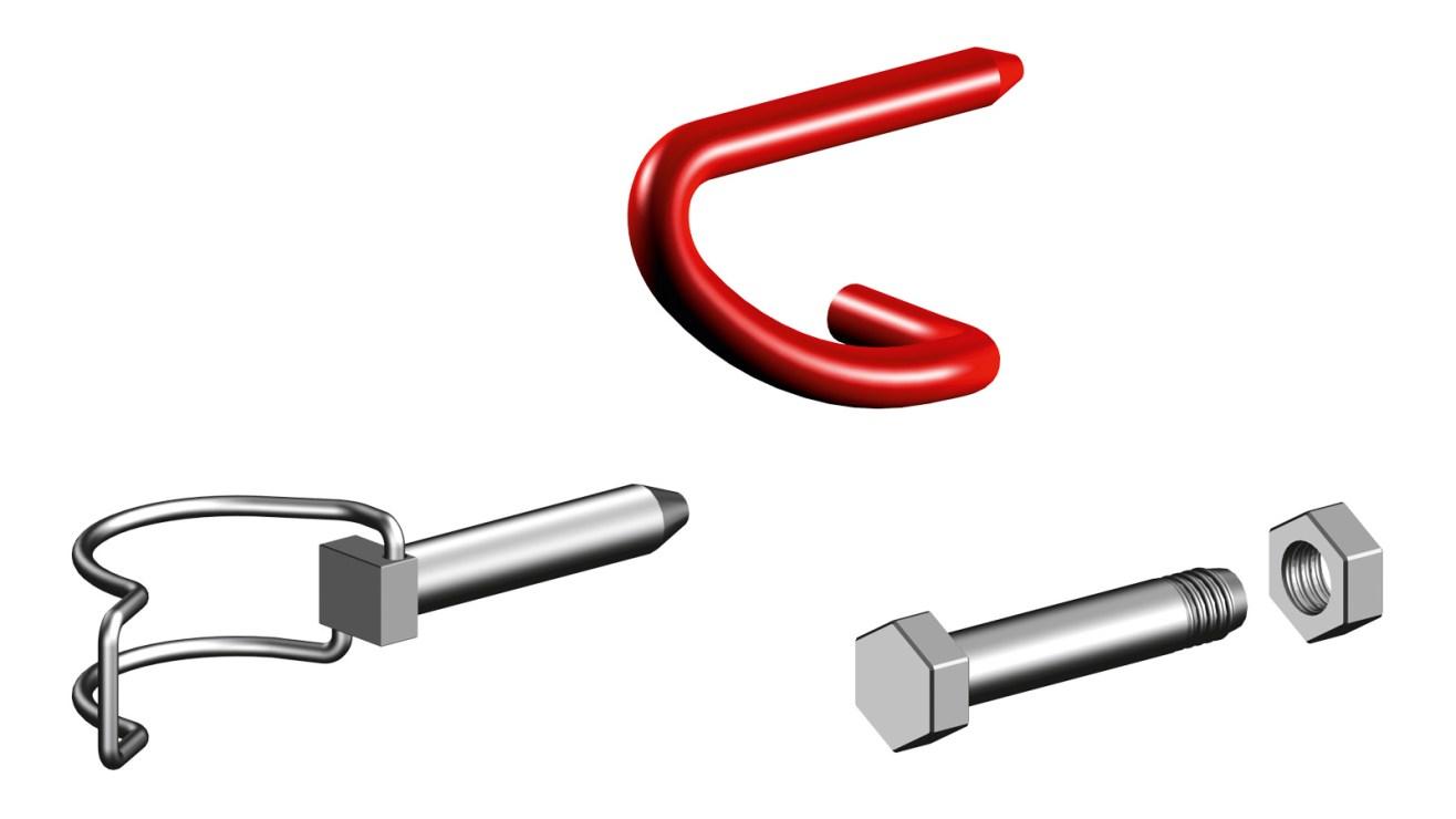 Locking pins nuts and bolts