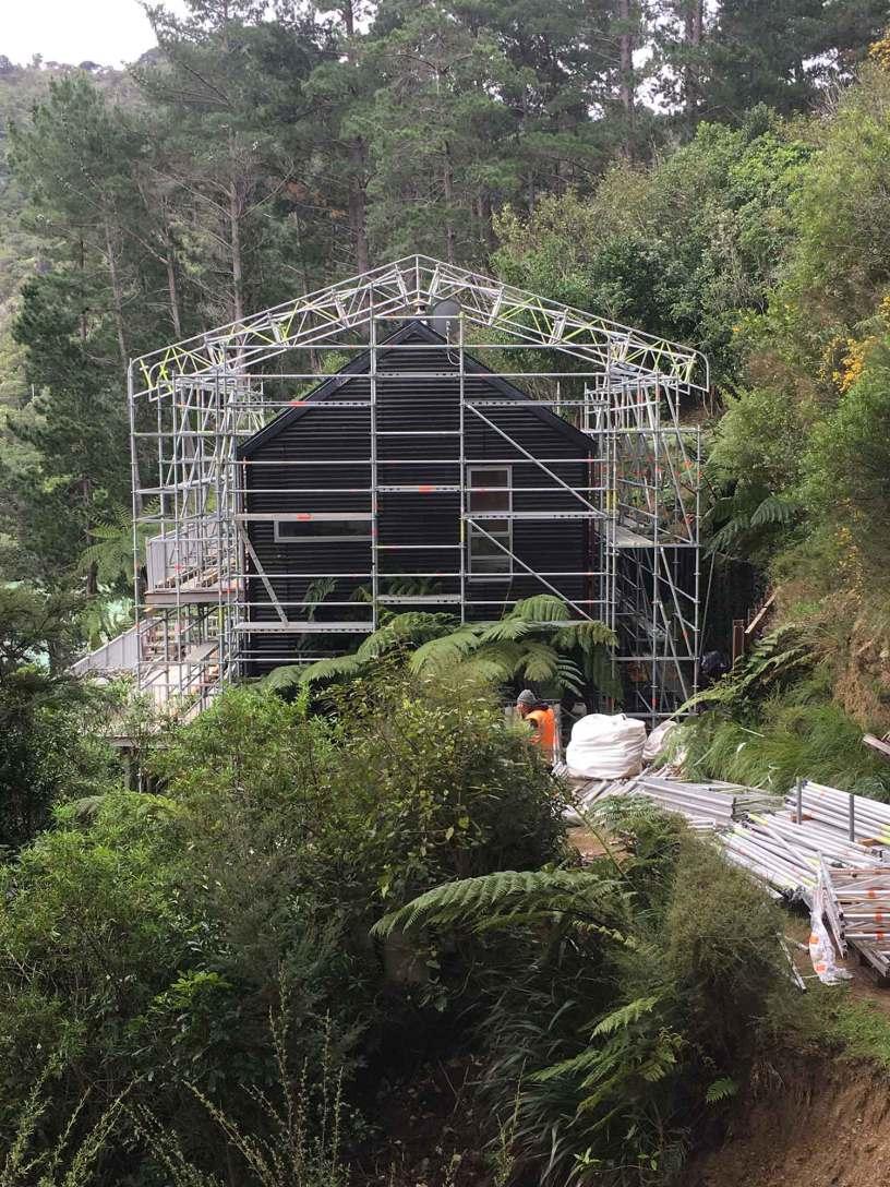 Scaffold Marlborough using Layher Keder Roof - an essential part of their scaffolding gear