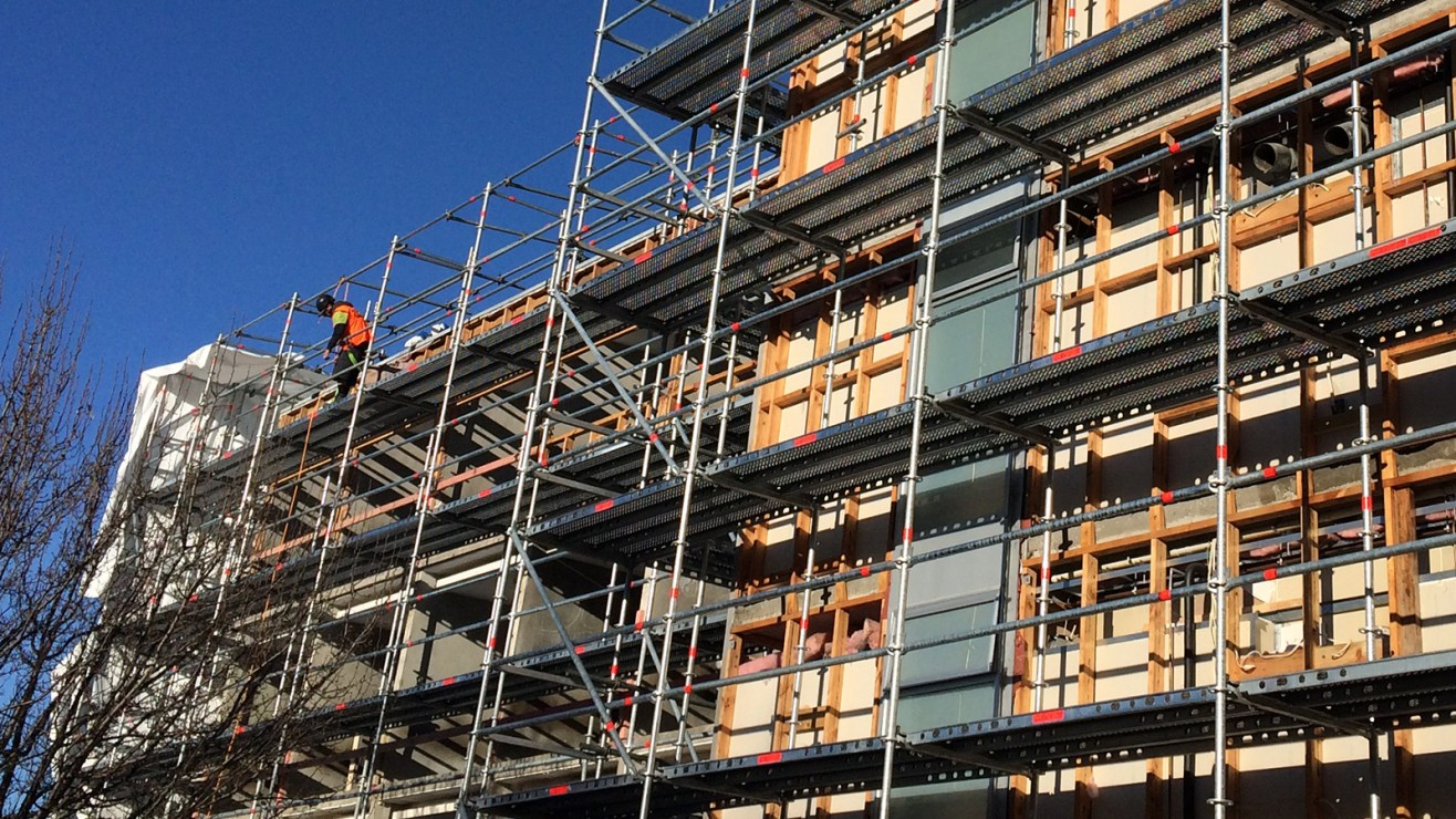 Multi-level residential scaffold under construction on multi-storey accommodation project