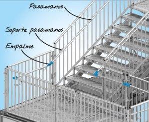 Sistema Layher de pasamanos para escaleras