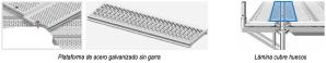 Plataforma de acero sin garra y lámina cubre huecos