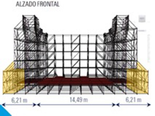 Alzado frontal de escenario Layher