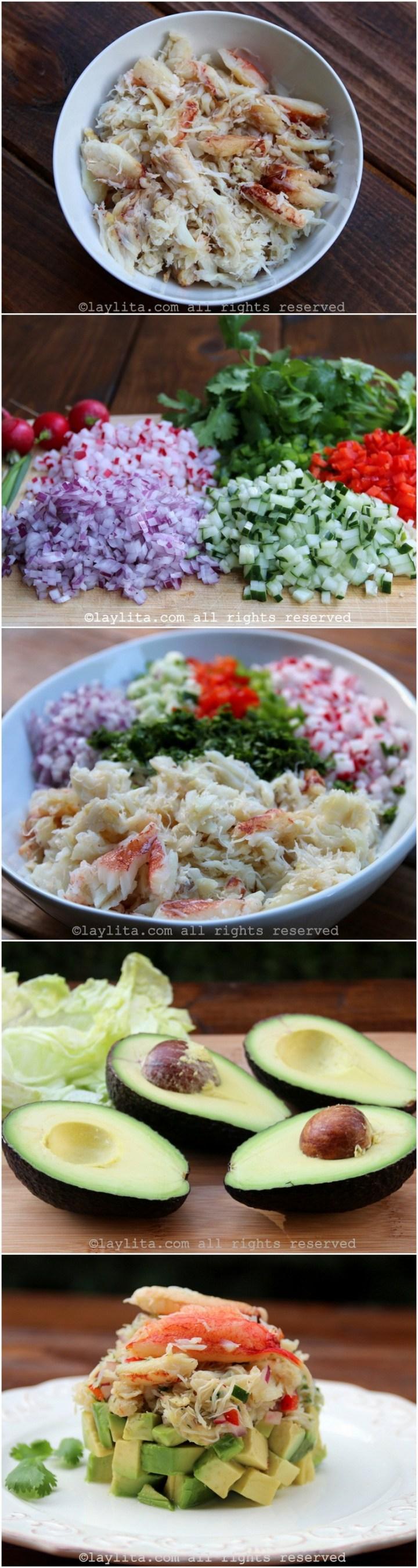 Como fazer salada de caranguejo em camadas com abacate