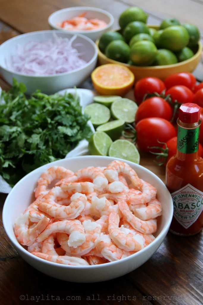Ingredients for Blood Mary shrimp ceviche