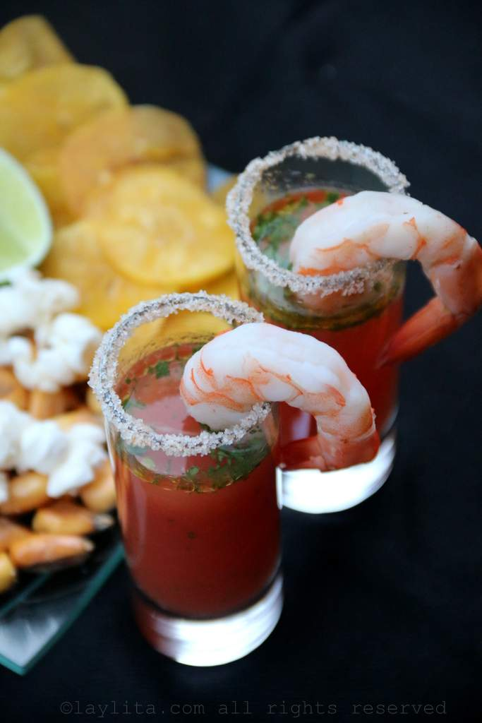 Bloody Mary ceviche shots