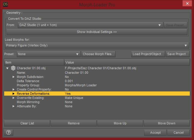 Daz Studio Morph Loader Pro Reverse Deformations