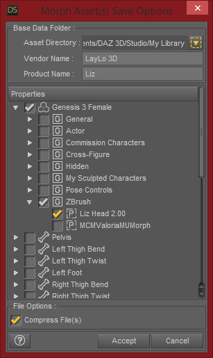 Daz Studio Morph Asset Save Options