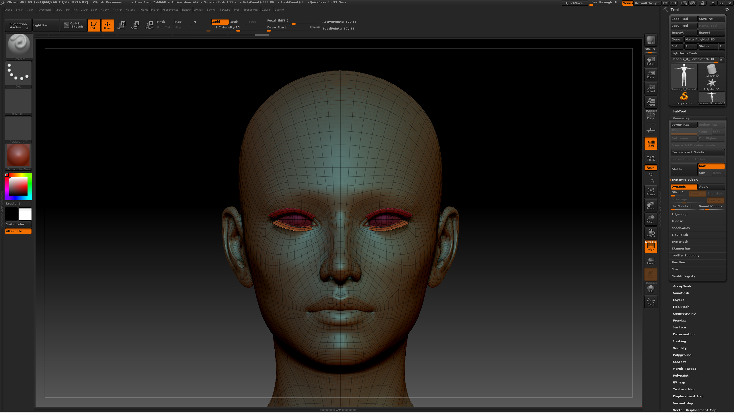 ZBrush Dynamic Subdiv Grouped and Masked