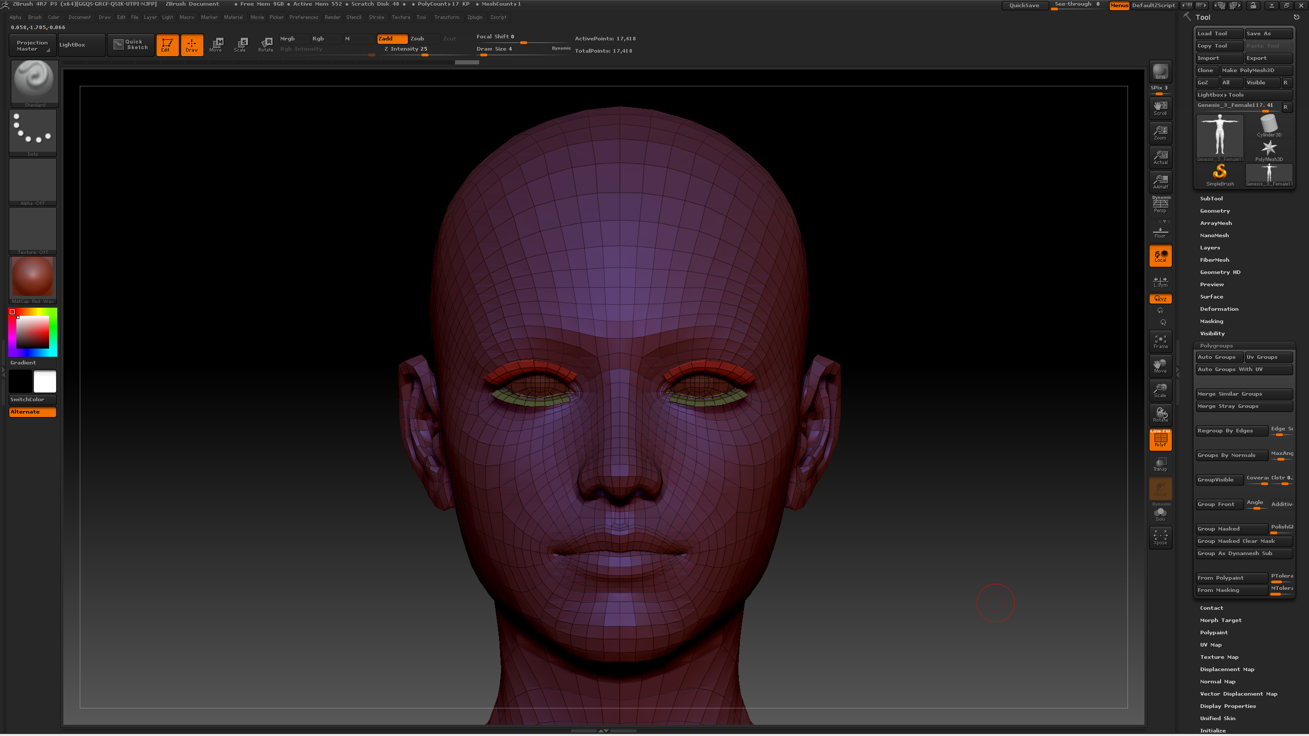 ZBrush - Genesis 3 Grouped and Masked