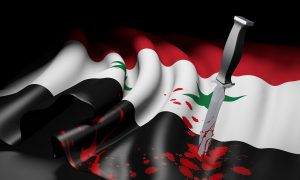 Syria flag and bloody knife, symbolizing jihad threat of ISIS