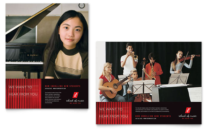 Music School Poster Template Word Amp Publisher