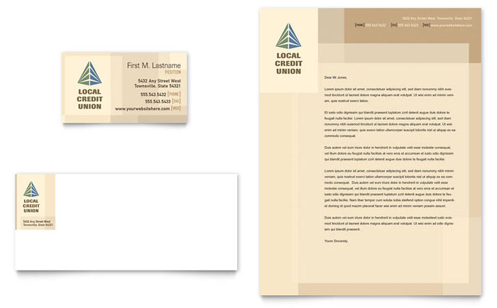 Credit Union Bank Business Card Letterhead Template Word Publisher
