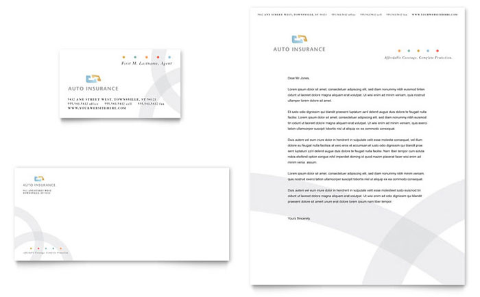 Car Insurance Company Business Card Amp Letterhead Template Word Amp Publisher