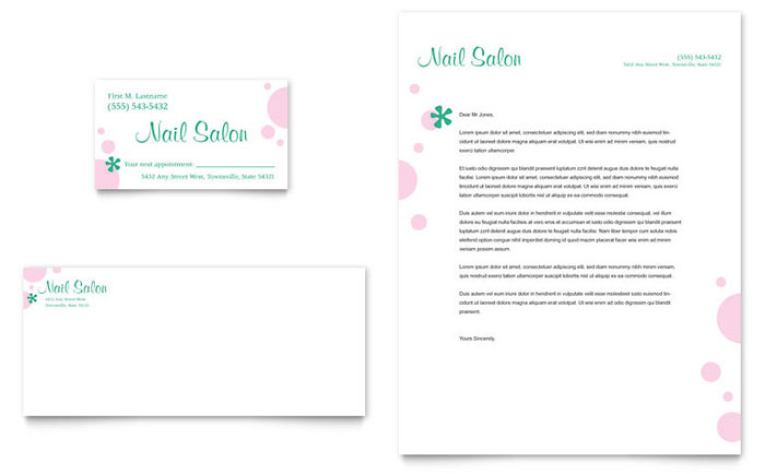 Nail Salon Business Card Amp Letterhead Template Word Amp Publisher
