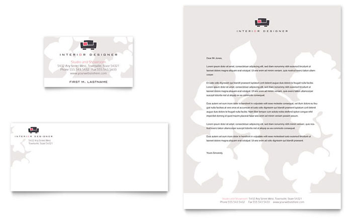 Interior Designer Business Card Amp Letterhead Template
