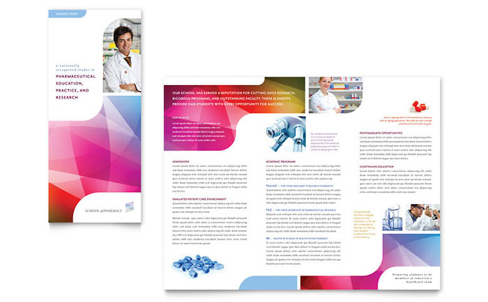 Pharmacy School Brochure Template   Word   Publisher Pharmacy School Tri Fold Brochure Template Design