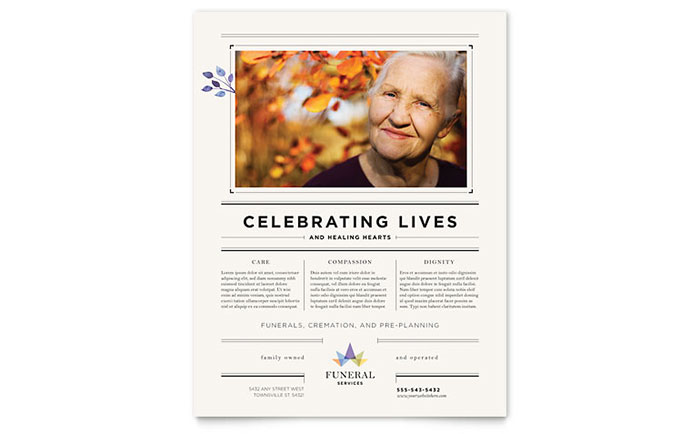 Funeral Services Flyer Template Word Publisher
