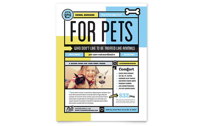 Pet Boarding Flyer Template Word Amp Publisher