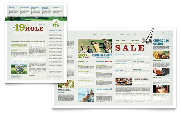 Golf Course Amp Instruction Newsletter Template Word