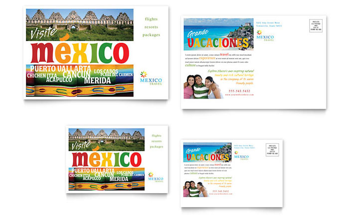 Mexico Travel Postcard Template Word Publisher