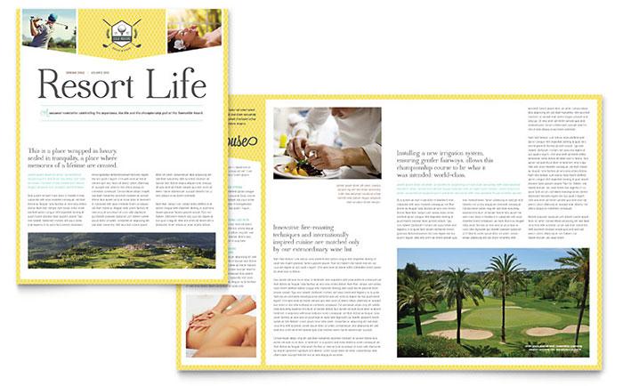 Golf Resort Newsletter Template Word Amp Publisher