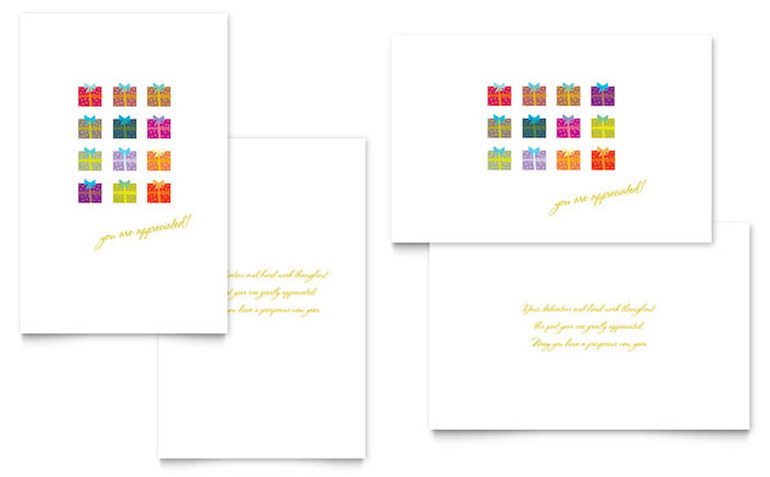 Christmas Presents Greeting Card Template Word Amp Publisher