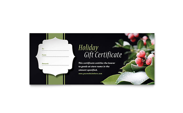 Holly Leaves Gift Certificate Template Word Publisher