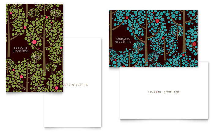 Stylish Holiday Trees Greeting Card Template Word