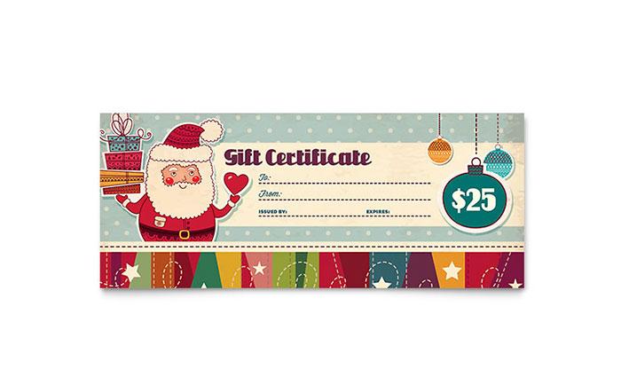 Retro Santa Gift Certificate Template Word Amp Publisher