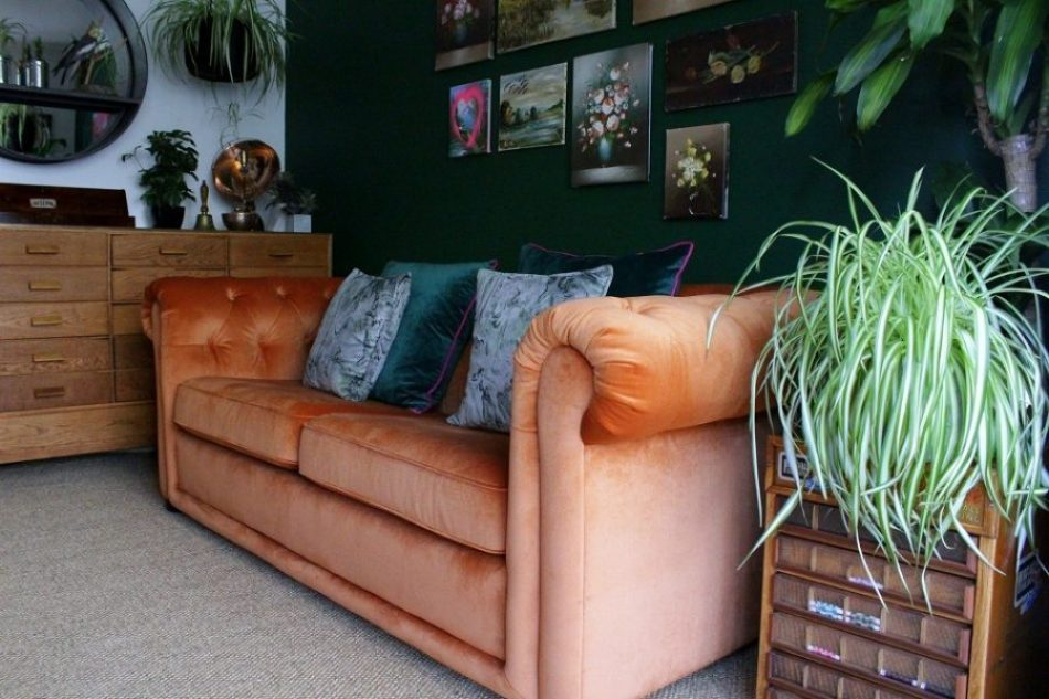 dfs orange velvet sofa