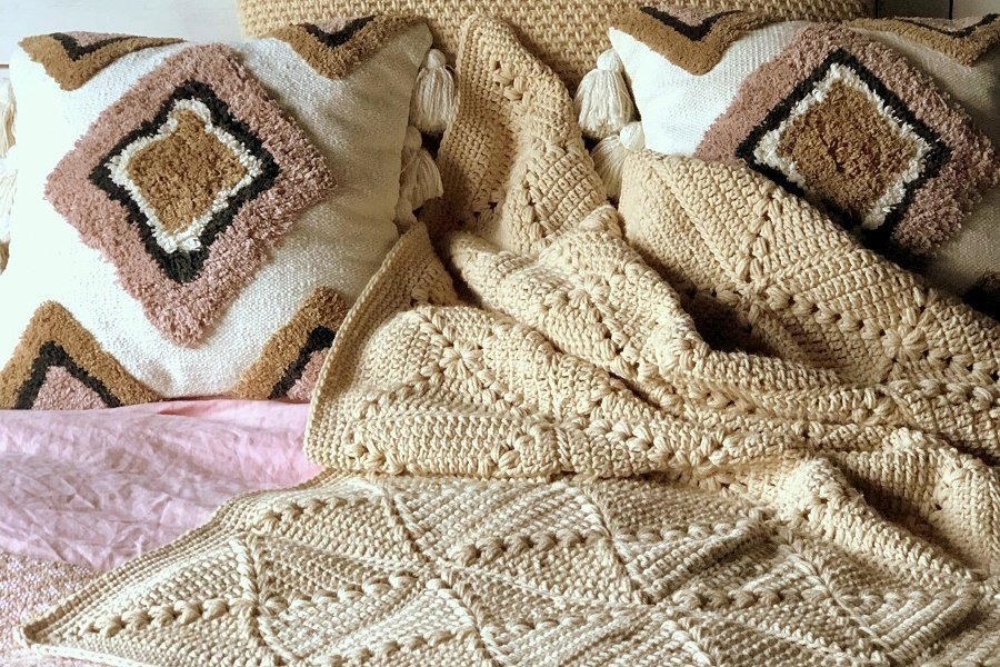 farmhouse granny crochet blanket