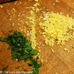 finely grated lemon rind is the zest and mint chopped very with