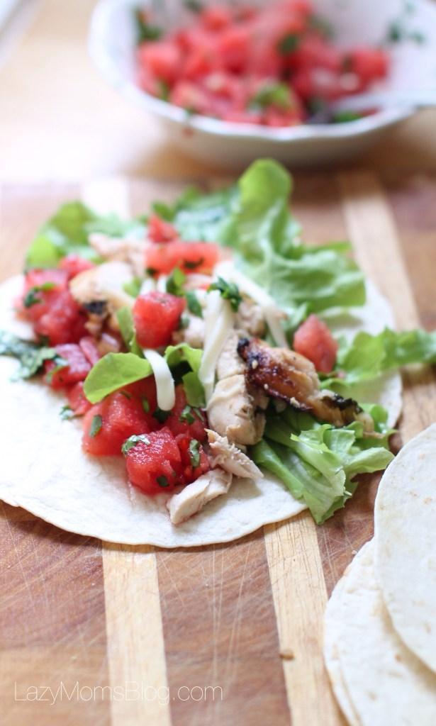 Watermelon salsa chicken tacos