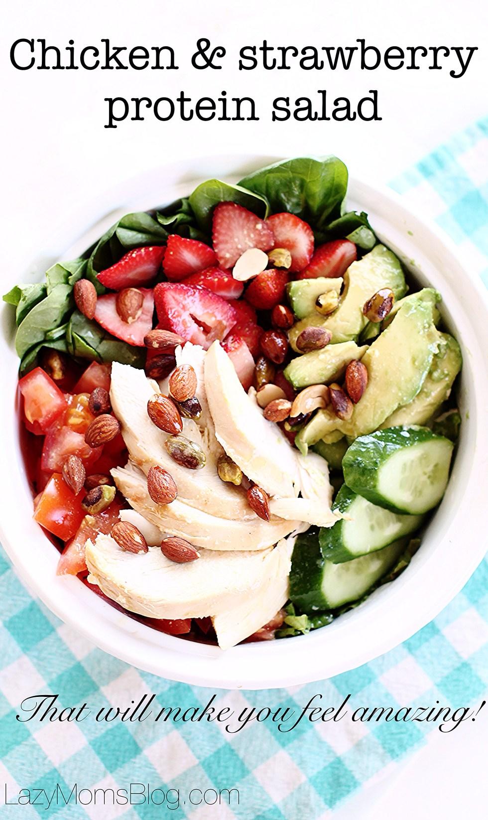 Strawberry chicken protein salad