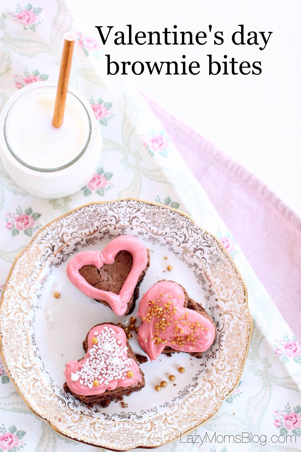 easy to make Valentine's day brownie bites with cheese cream frosting!