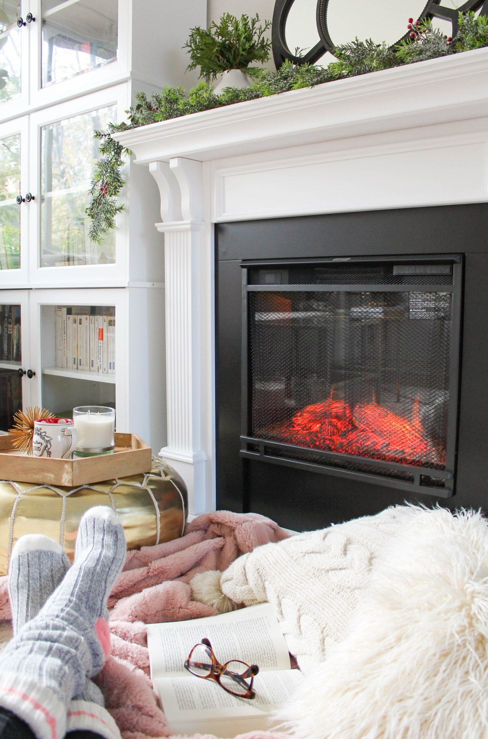 make electric fireplace look real