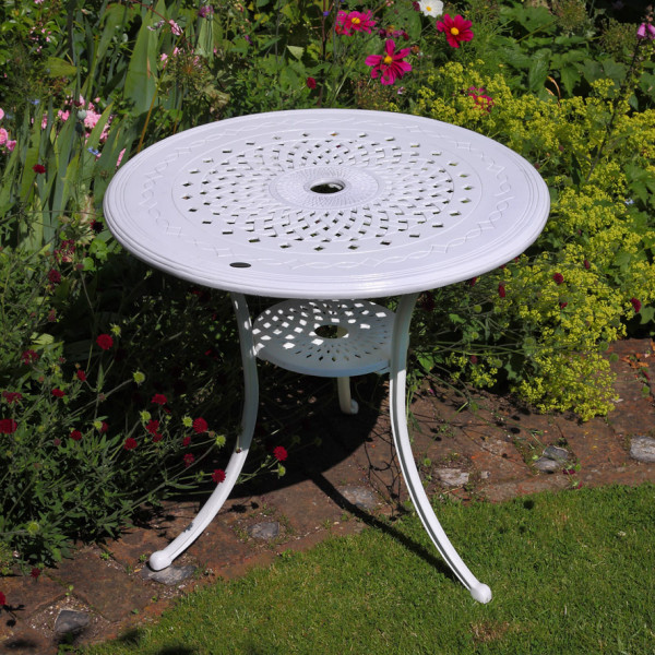 anna white 80cm round cast aluminium patio table table only