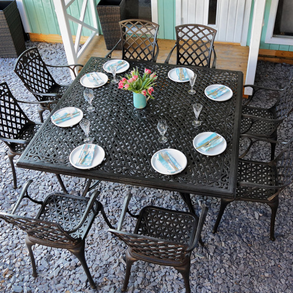 tanya antique bronze 8 seater set 162cm square cast aluminium patio set