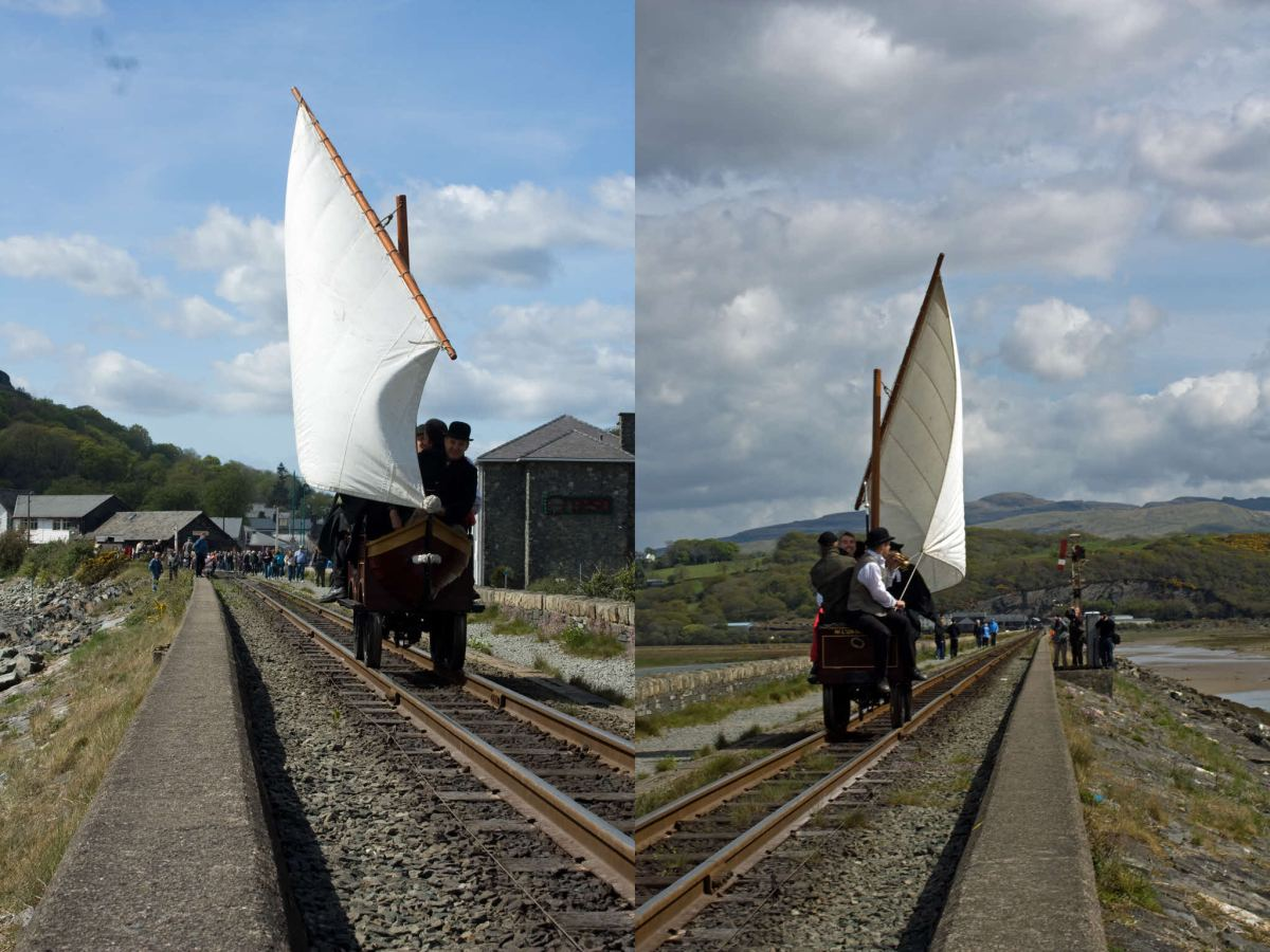 Spooner's Boat — a sail-powered rail vehicle.