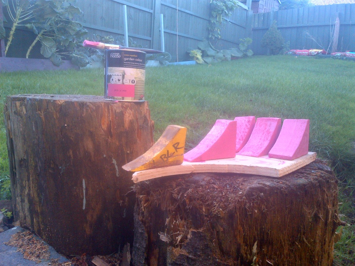Pink wooden chocks