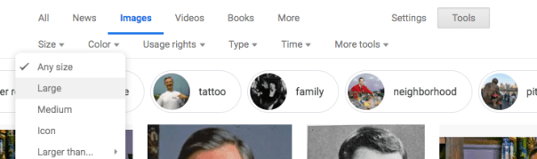Selecting a large image in google search