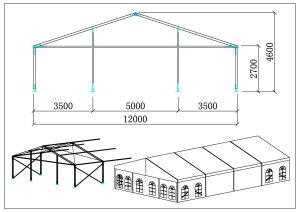 schéma chapiteaux de récveption 12 mètres