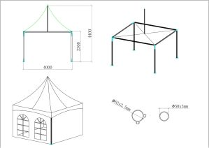 schéma tente de réception 4 mètres