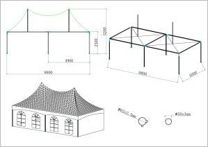 schéma tente de réception 5x10m